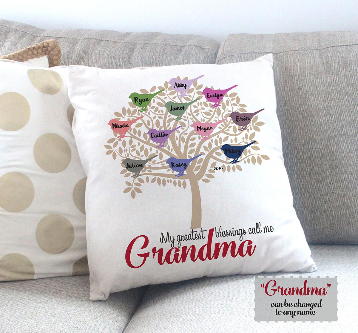 Personalized Grandma Pillow Veveandk Baby Family Kids