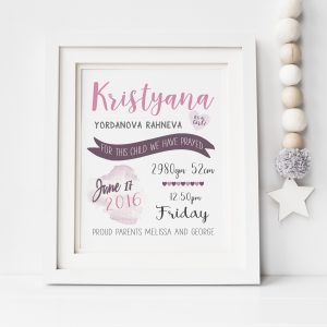 personalized baby girl birth stats print